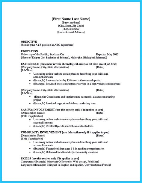 current college student resume   experience