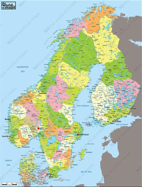 digital political map scandinavia   world  mapscom