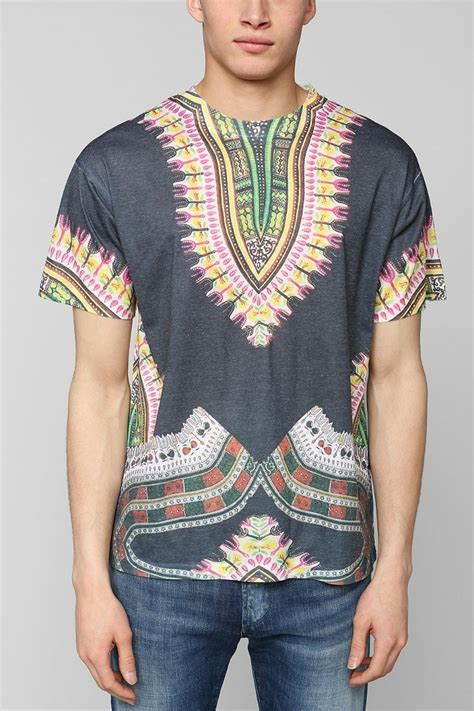 Lyst - Urban Outfitters Sublimated Dashiki Tee in Gray for Men