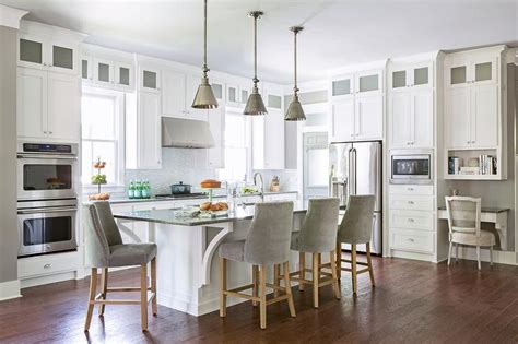 white kitchen island with stools white kitchen island with gray velvet french counter stools transitional kitchen