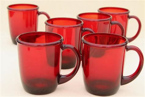 Mod Vintage Ruby Red Glass Coffee Mugs, Arcoroc Cocoon