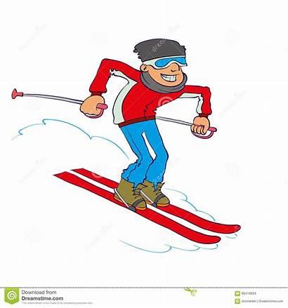 Cartoon Skier Vector Downhill Illustration Smiling