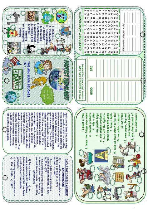 earth day minibook worksheet free esl printable