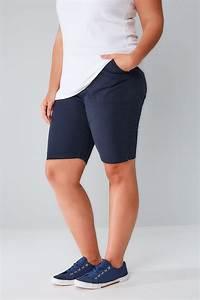 Short à enfiler en coton frais marine avec poches