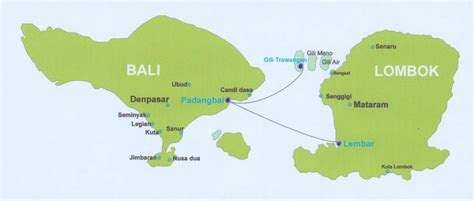 map  bali lombok    gili islands gili trawangan