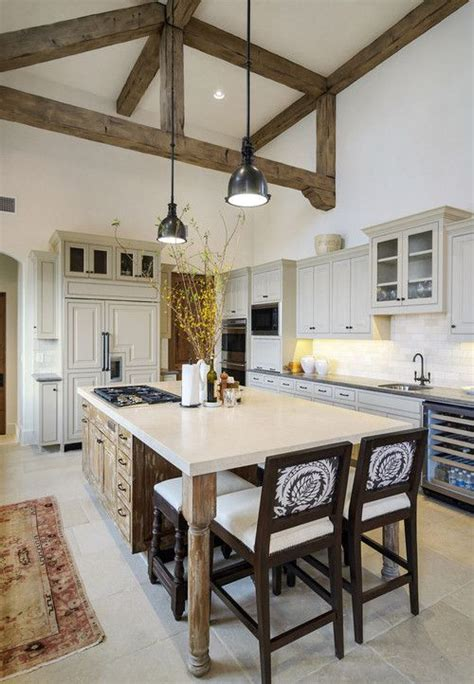 inviting kitchen designs  exposed wooden beams