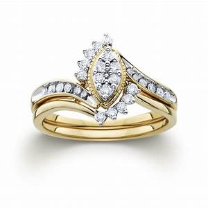 1 3cttw certified diamond marquise bridal set 10k yellow With yellow gold marquise wedding ring sets