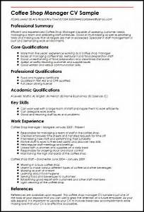 Coffee Shop Manager Resume Sample Ebook Database
