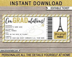 Ticket Printing Templates Paris Graduation Boarding Pass Gift Ticket Paris Grad