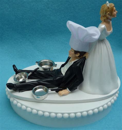 Wedding Cake Topper Chef Cooking Pots Pans Hat Kitchen