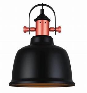 Suspension Style Industriel : suspension loft design en cuivre avec abat jour noir dalia ~ Teatrodelosmanantiales.com Idées de Décoration