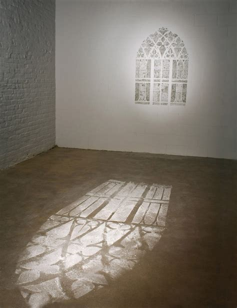scraped wall simulates light on the floor with paint dust