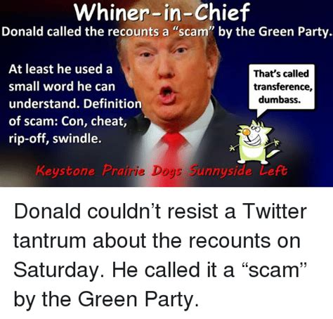Whiner Meme - whiner in chief donald called the recounts a scam by the green party at least he used a that s