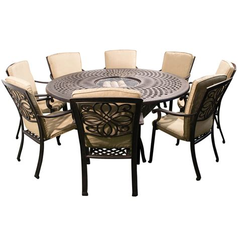 kensington firepit grill 8 chair dining set with 180cm