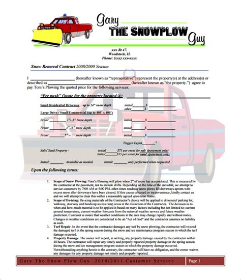 Residential Snow Removal Contract Template by 19 Snow Plowing Contract Templates Doc Pdf Free