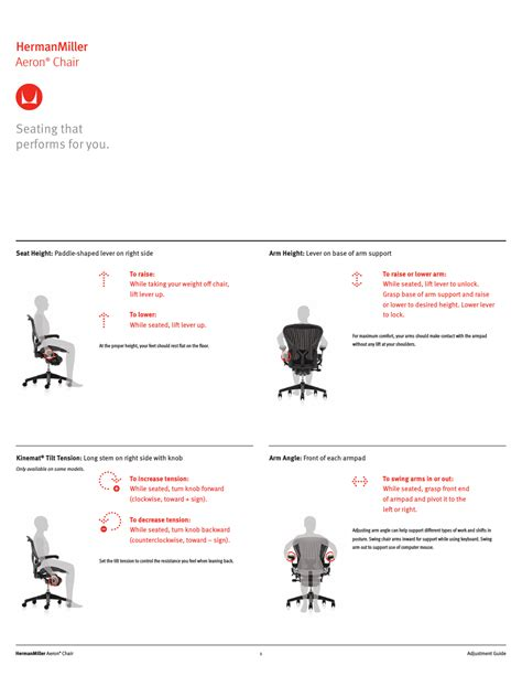 herman miller aeron chairs user adjustments user manual