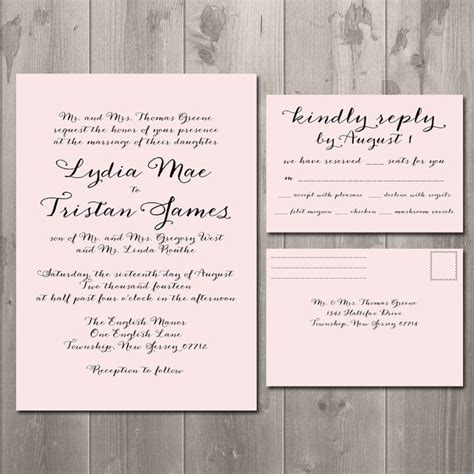 simple script wedding invitation rsvp card  postcard