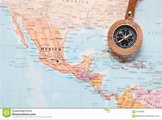 Travel Destination Mexico, Map With Compass Stock Photo