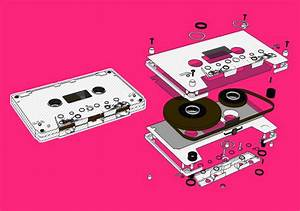 cassete, cassette, exploded view, graphic design ...