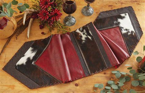 Cowhide Runner by Leather Cowhide Table Runner