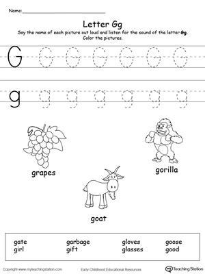 kindergarten alphabet printable worksheets 744 | Words Starting With Letter G