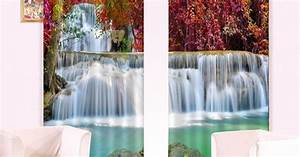 Amazing Red Tree Leaves Waterfall Printing 3D Curtain on ...