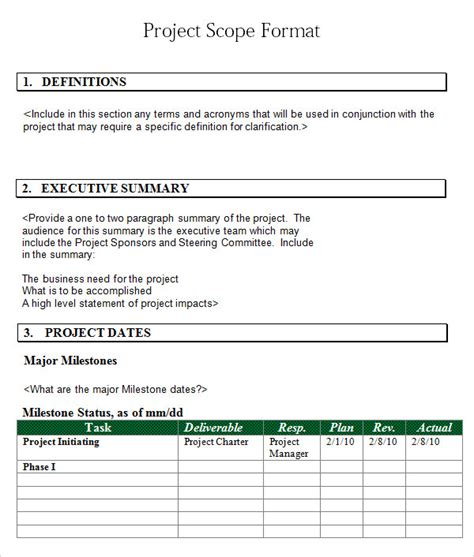 project scope template word project scope template