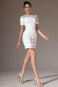 robe de soiree courte blabche dentelle sur les epaules With robe cocktail dentelle blanche