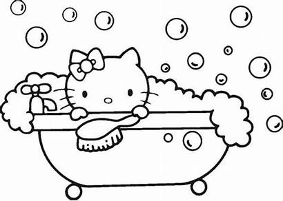 Coloring Pages Kitty Hello Colouring Bathtub Bath