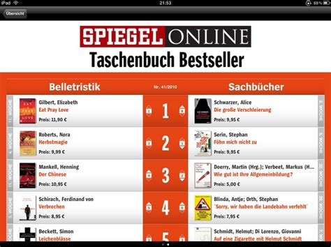 Bestsellerlisten App für iPad, iPhone und iPod Touch