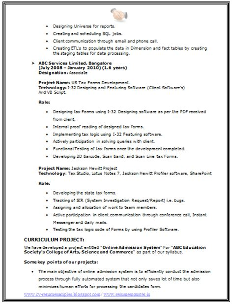 cv  resume samples    bsc  resume sample
