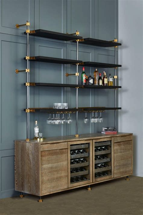 amuneals loft bar  oak  brass bar cabinet wine