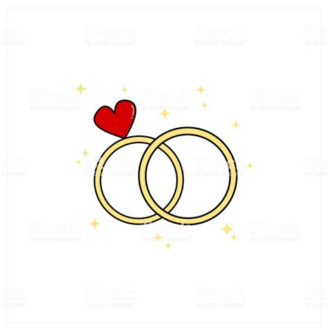 cute cartoon wedding day rings vector illustration stock illustration download image now istock