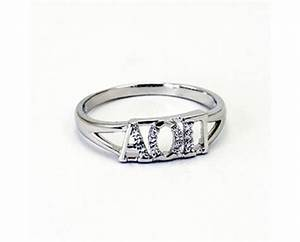 alpha omicron pi greek letter ring with diamonds With greek letter rings