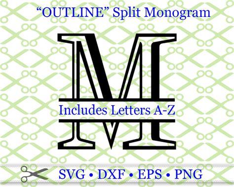 outline roman split letter monog cricut silhouette svg dxf eps png monogramsvgcom  svg