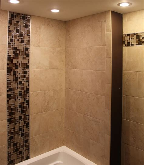 porcelain tile shower with mosaic glass borders new