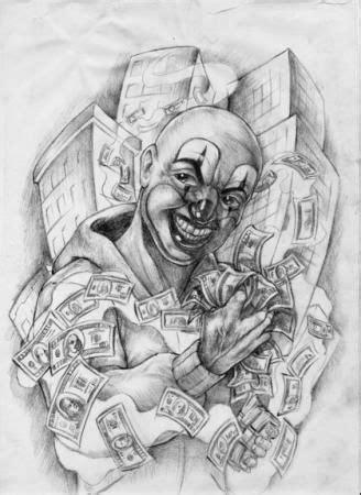 Grey Ink Clown And Money Tattoo Design | Drawings | Clown tattoo, Tattoo forum, Money tattoo