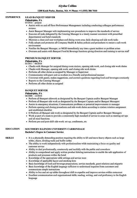 Resume Of A Server by Banquet Server Resume Sle Diplomatic Regatta