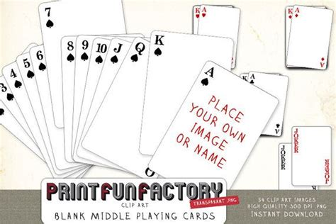 playing cards blank middle digital file customize