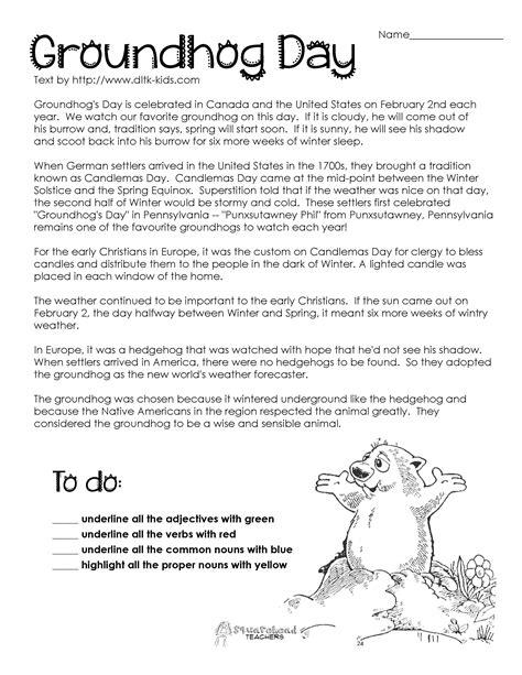 groundhog day comprehension worksheets google search