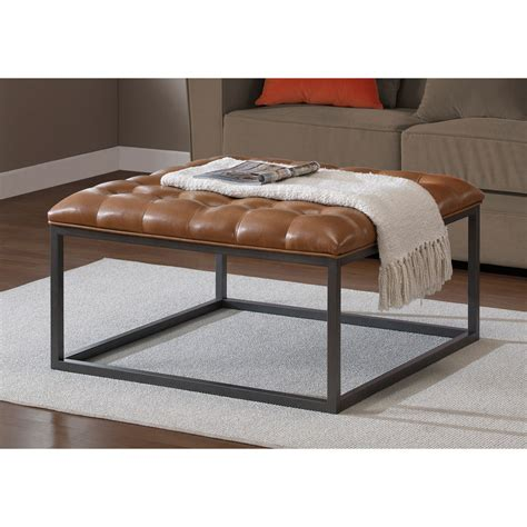 tufted leather ottoman coffee table brown metal tufted leather ottoman footstool coffee table
