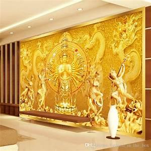 Gold Buddha Photo Wallpaper Custom 3d Wall Murals ...