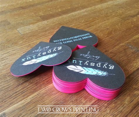 Kay berry goodbyes are not forever heart shaped memorial stone. Edge painted, Heart shaped, Die cut Business Cards... - Two Crows Printing