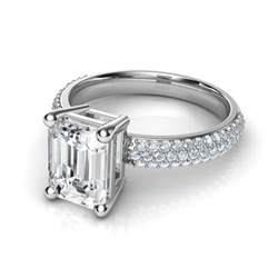 gold emerald cut engagement rings trio micro pavé emerald cut engagement ring in 14k white gold