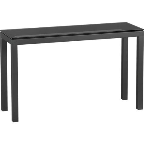 crate and barrel parsons table parsons console table with grey glass top