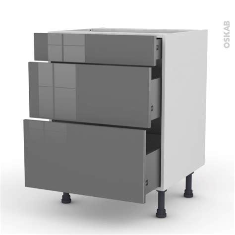 meubles cuisine gris meuble de cuisine casserolier stecia gris 3 tiroirs l60 x