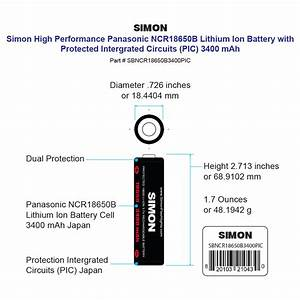 3 7v Panasonic 18650 Battery Rechargeable Lithium Ion With