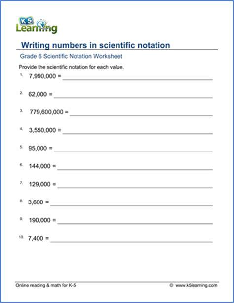 grade 6 math worksheet scientific notation writing
