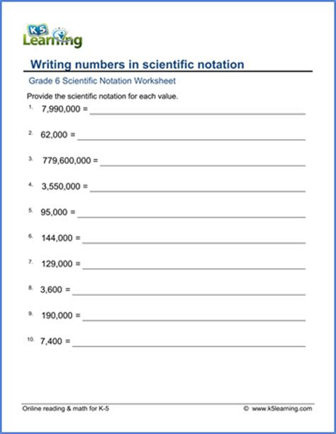 Grade 6 Place Value & Scientific Notation Worksheets  Free & Printable  K5 Learning