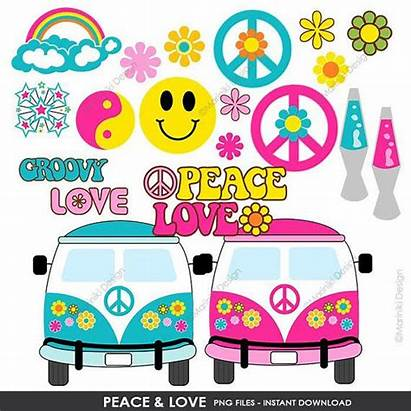 Hippie Peace Clipart Groovy Clip 60s Invitation
